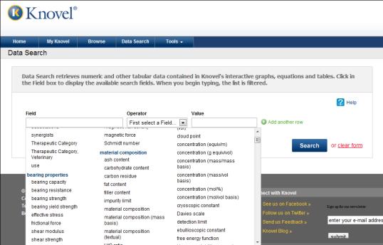 Knovel Data search tool screen shot
